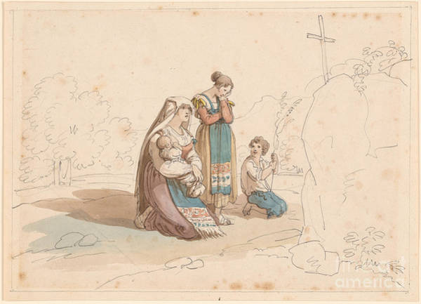 1781 Painting -  A Peasant Family At A Wayside Shrine by MotionAge Designs