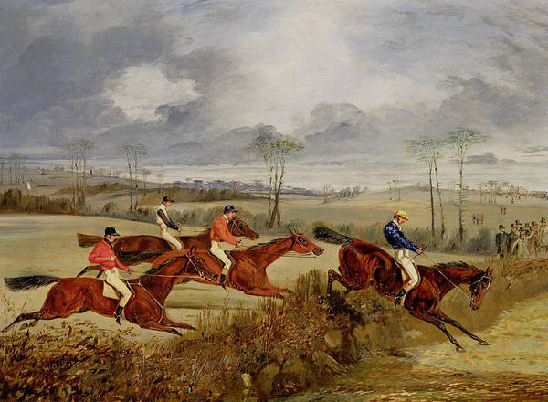 High Jump Painting -  A Steeplechase - Near The Finish by Henry Thomas Alken