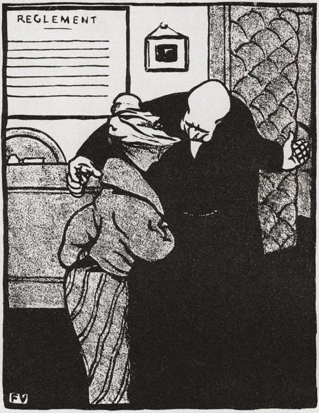 20th Century Man Drawing -  A Worthy Man Ushers A Young Woman by Vintage Design Pics