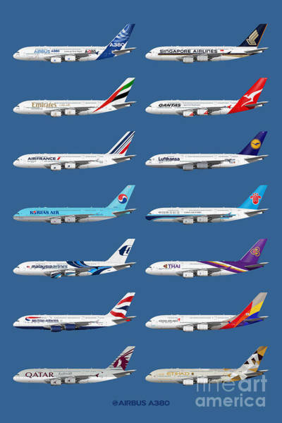 Airbus A380 Wall Art - Digital Art -  Airbus A380 Operators Illustration - Blue Version by Steve H Clark Photography