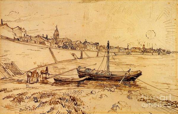 Painting -  Bank Of The Rhone At Arles by Celestial Images