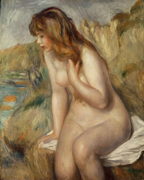 Renoir Wall Art - Painting -  Bather Seated On A Rock by Pierre Auguste Renoir