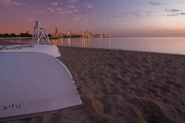 Photograph -  Beach And Chicago Skyline by Sven Brogren