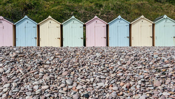 Photograph -  Beach Huts And Pebbles II by Helen Northcott
