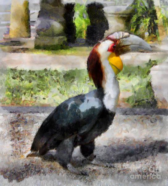 Hornbill Painting -  Bird Rhinoceros Hornbill by Sergey Lukashin