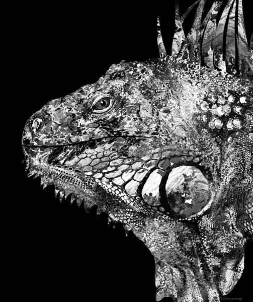 Painting -  Black And White Iguana Art - One Cool Dude 2 - Sharon Cummings by Sharon Cummings
