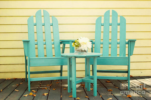 Adirondacks Photograph -  Blue Adirondack Chairs  by Juli Scalzi