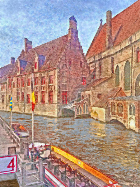 Digital Art -  Boats Docked Along A Bruge Canal by Digital Photographic Arts