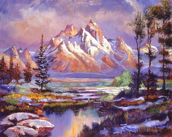 Mountain Lake Painting -  Breaking Winter Sunlight by David Lloyd Glover