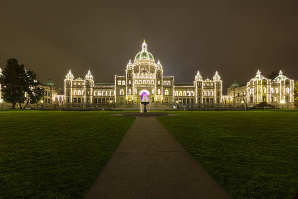 Parliament Photograph -  British Columbia Parliament Buildings At Night by Mark Kiver