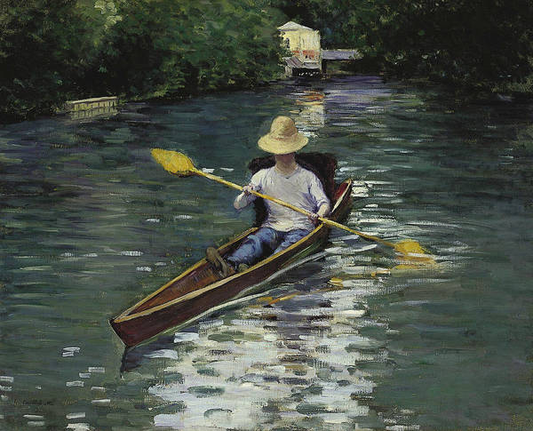 Painting -  Canoe On The Yerres River by Gustave Caillebotte