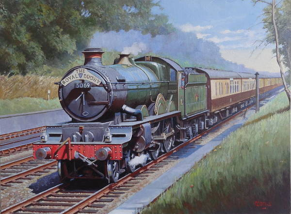 Loco Wall Art - Painting -  Castle Class In Sonning Cutting by Mike Jeffries