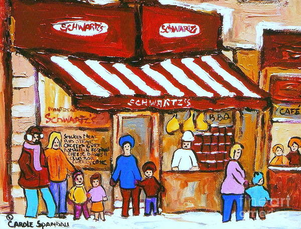 Painting -  Chez Schwartz Deli Charcuterie  Vintage Montreal Winter Street Scene by Carole Spandau