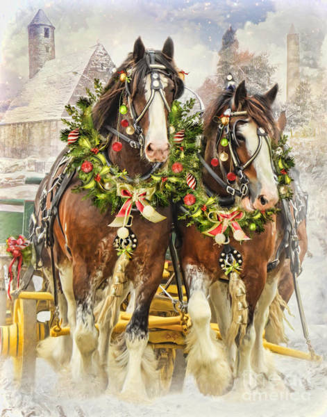 Sleigh Wall Art - Digital Art -  Christmas Clydesdales by Trudi Simmonds