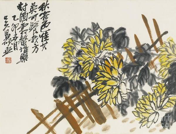 Painting -  Chrysanthemums On A Fence by Celestial Images