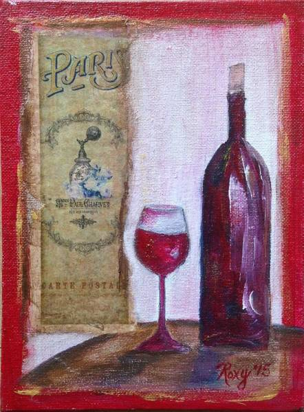 Wine Painting -  Delightful Wine In Paris  by Roxy Rich