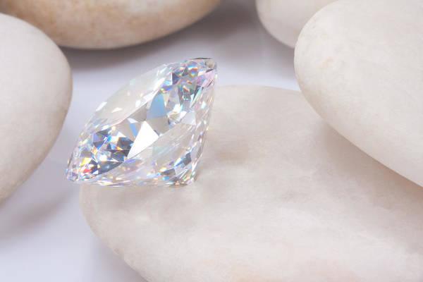 Allure Wall Art - Jewelry -  Diamond On White Stone by Atiketta Sangasaeng