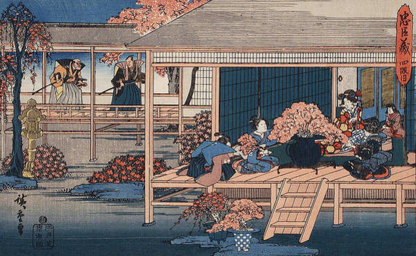 Woodblock Painting -  Envoys From The Shogun Approach Lady Kaoyo  by Hiroshige