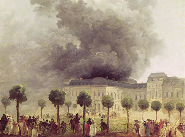 People Watching Painting -  Fire At The Opera House Of The Palais Royal by Hubert Robert