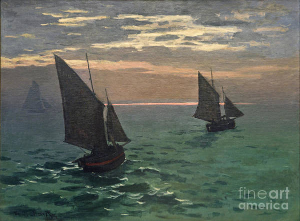 Painting -  Fishing Boats At Sea by Celestial Images
