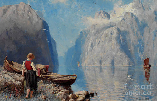 Wall Art - Painting -  Fjord Landscape by Hans Andreas Dahl