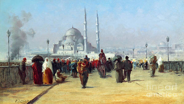 Fausto Zonaro Painting -  Galata Bridge In Constantinople by MotionAge Designs