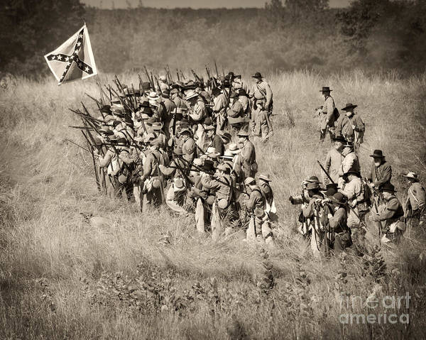 Photograph -  Gettysburg Confederate Infantry 9015s by Cynthia Staley