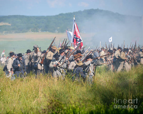Photograph -  Gettysburg Confederate Infantry 9214c by Cynthia Staley