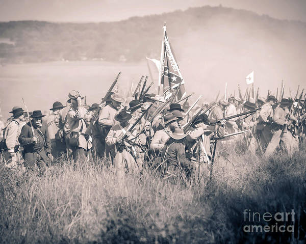 Photograph -  Gettysburg Confederate Infantry 9214s by Cynthia Staley