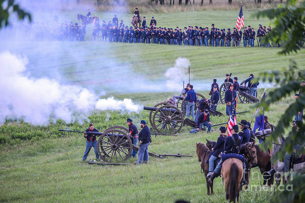 Photograph -  Gettysburg Union Artillery And Infantry 7439c by Cynthia Staley