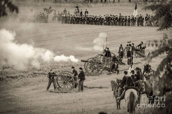 Photograph -  Gettysburg Union Artillery And Infantry 7439s by Cynthia Staley