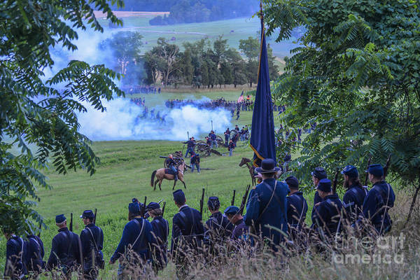 Gettysburg Union Artillery And Infantry 7457c Art Print