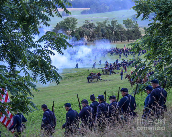 Photograph -  Gettysburg Union Artillery And Infantry 7465c by Cynthia Staley