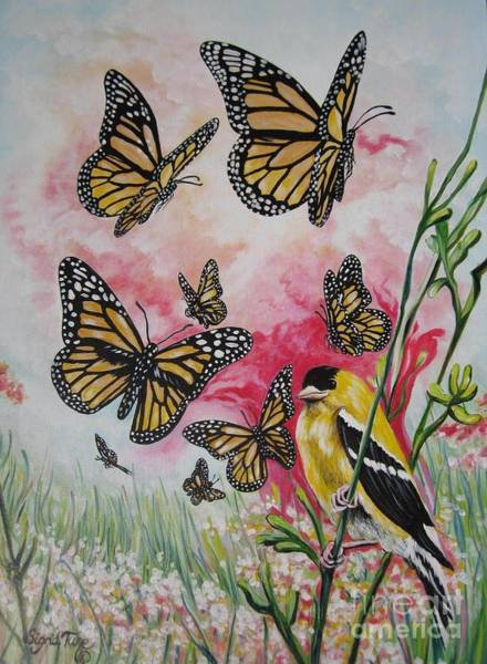 Painting - Glorious  Goldfinch And Butterflies by Sigrid Tune