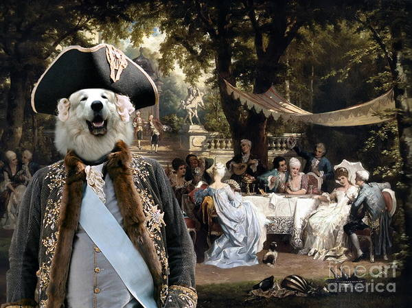 Pyrenees Painting -  Great Pyrenees - Pyrenean Mountain Dog Art Canvas Print - The Garden Party  by Sandra Sij