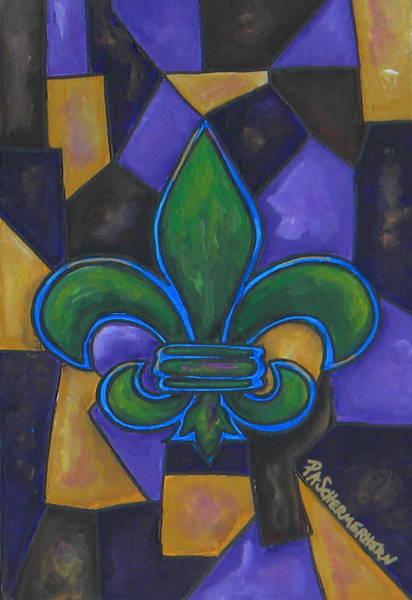 Painting -  Green Fleur De Lis by Patti Schermerhorn