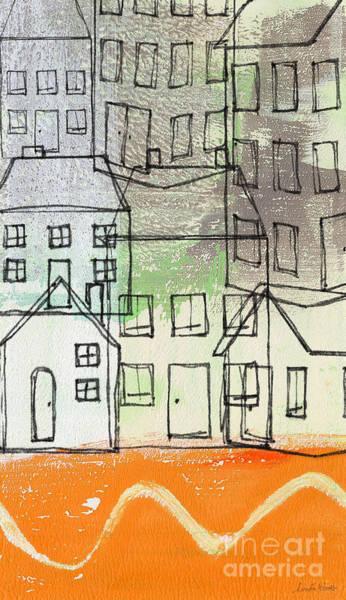 Office Buildings Wall Art - Painting -  Houses By The River by Linda Woods