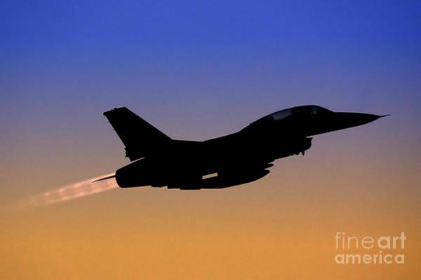 Jet Fighter Photograph -  Iaf F-16b Fighter Jet At Sunset by Nir Ben-Yosef