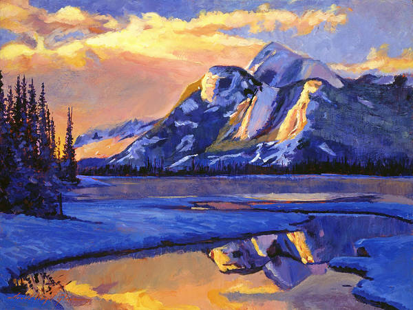 Mountain Lake Painting -  Iced Blue by David Lloyd Glover