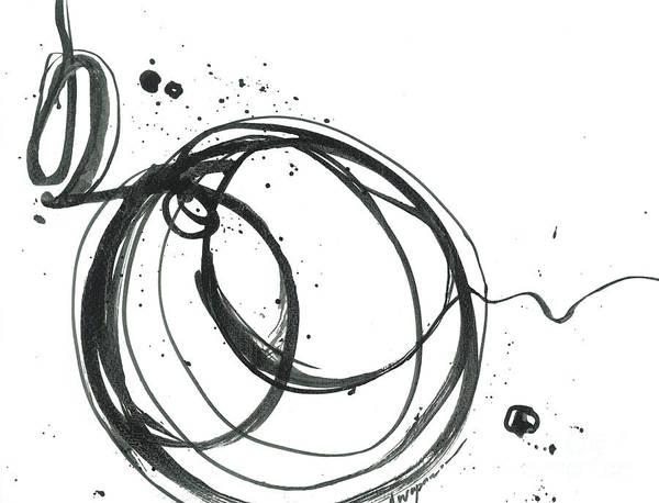 Painting -  Inward - Revolving Life Collection - Modern Abstract Black Ink Artwork by Patricia Awapara