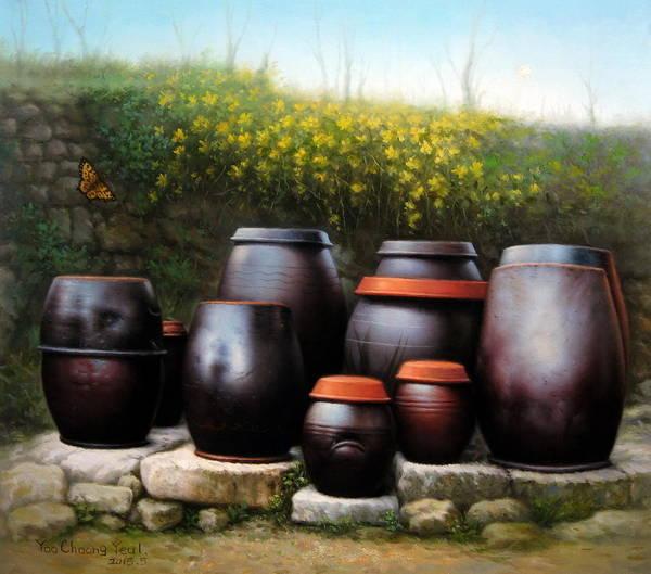 Forsythia Painting -  Jars Of Korea by Yoo Choong Yeul