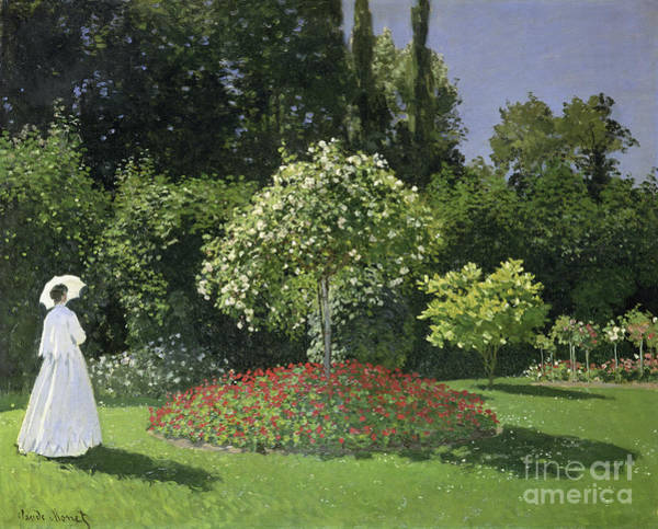 Painting -  Jeanne Marie Lecadre In The Garden by Celestial Images
