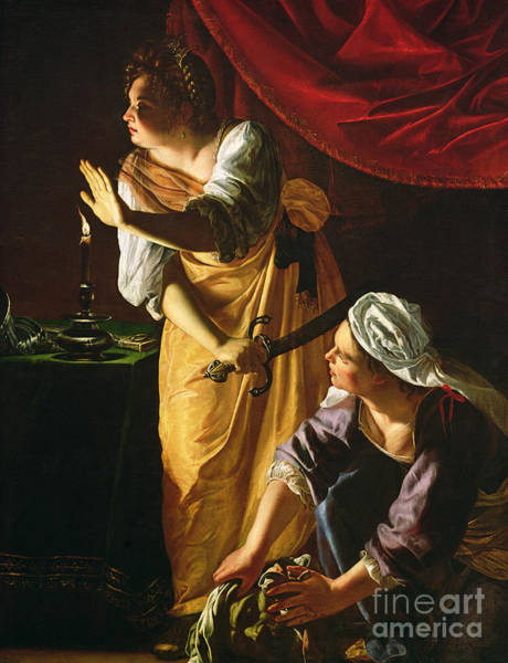 With Wall Art - Painting -  Judith And Maidservant With The Head Of Holofernes by Artemisia Gentileschi