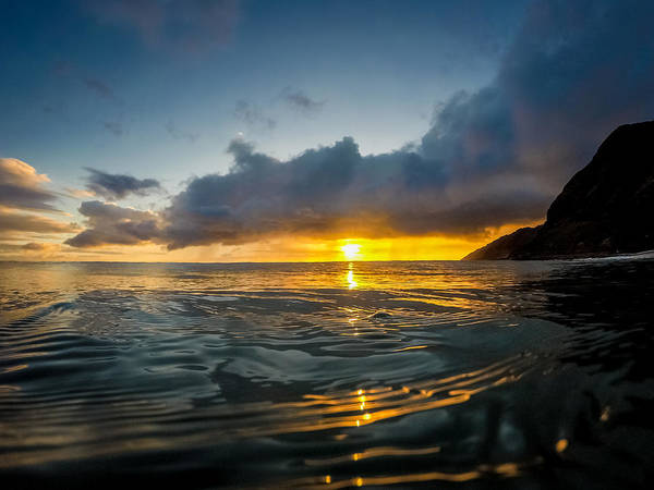 Pray For Love Wall Art - Photograph -  Kaena Point Sunset by Chris and Wally Rivera