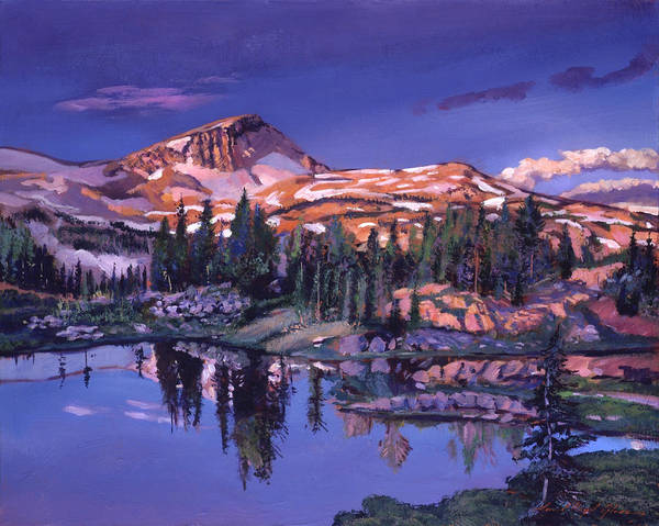 Mountain Lake Painting -  Lake In Shades Of Purple by David Lloyd Glover
