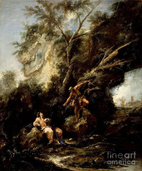 Painting -  Landscape With The Temptation Of Christ by Celestial Images