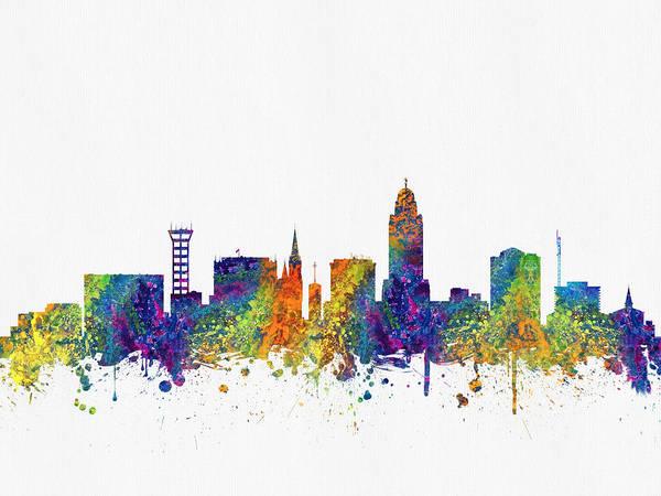 Lincoln Digital Art -  Lincoln Nebraska Skyline Color03 by Aged Pixel