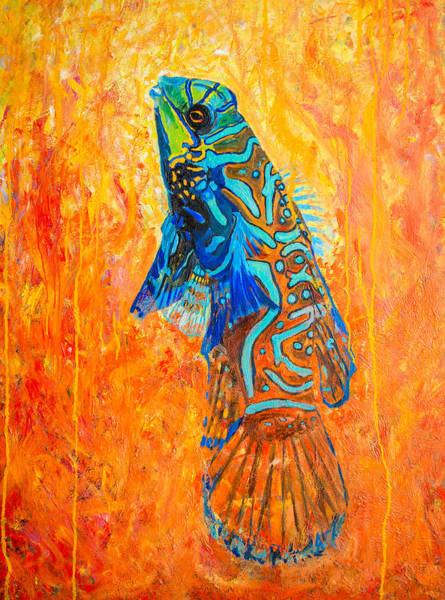 Mandarin Wall Art - Painting -  Mandarin Dragonet Original Oil Painting  by Manuel Lopez