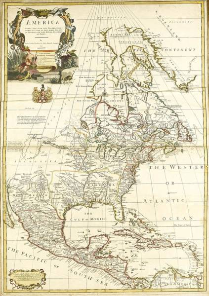Painting -  Map Of North America 1714 by Celestial Images