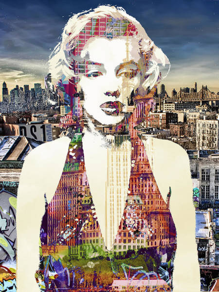 Painting -  Marilyn Monroe Vulnerable In New York City 1 by Tony Rubino